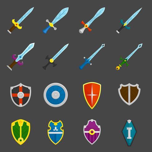 Bouclier épées emblèmes icônes définies