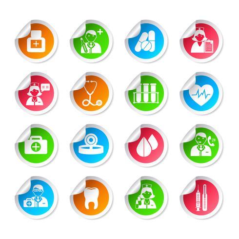 Adesivos de ícone de cuidados de saúde médicos