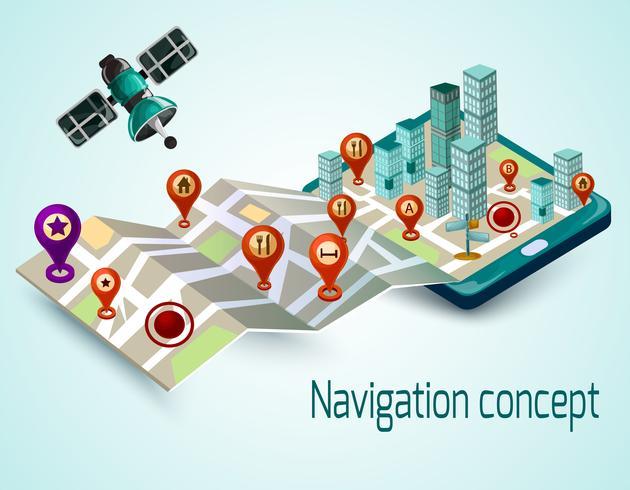 Concepto de navegación móvil vector