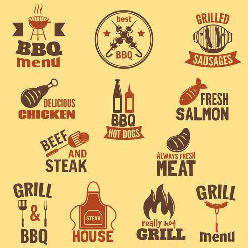 Bbq grill etikett vektor