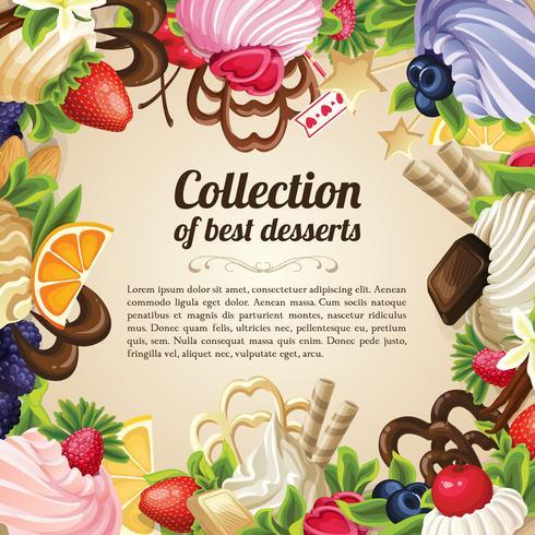 Snoepjes dessert frame vector