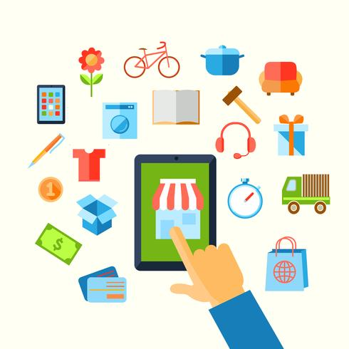 Shopping e-commerce hand concept