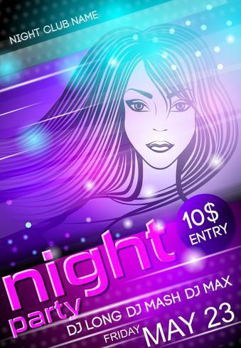 Cartaz de garota sexy de festa de noite