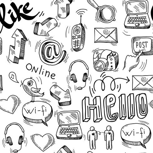Seamless doodle sociala medier mönster bakgrund vektor