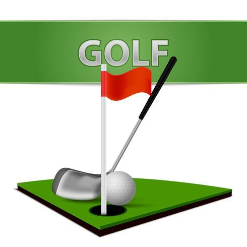 Golf Ball Club och Green Grass Emblem vektor