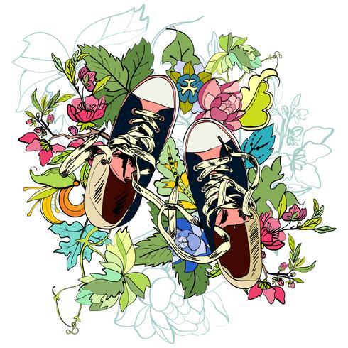 Gumshoes boceto flor vector