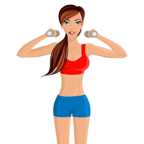 Ung sexig kvinna fitness vektor