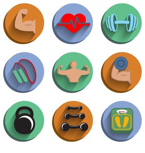 Set de iconos de deporte culturismo fitness vector