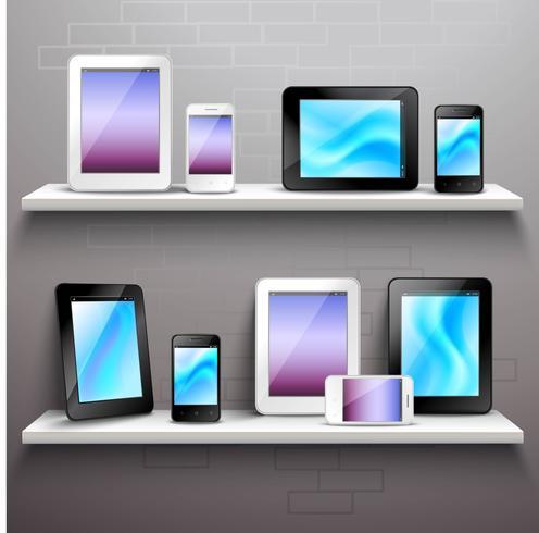 Dispositivos en estantes vector