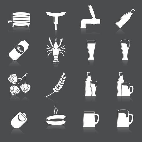 Conjunto de iconos de cerveza vector