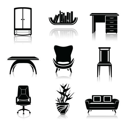 Ícones pretos de móveis