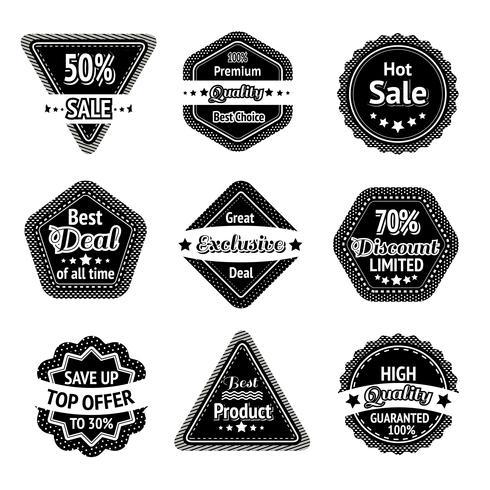 Set di tag e adesivi di vendita vettore