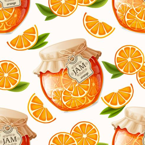 Orange jam seamless pattern vector