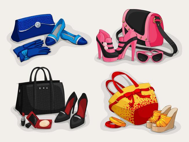 Collezione di borse da donna scarpe e accessori vettore