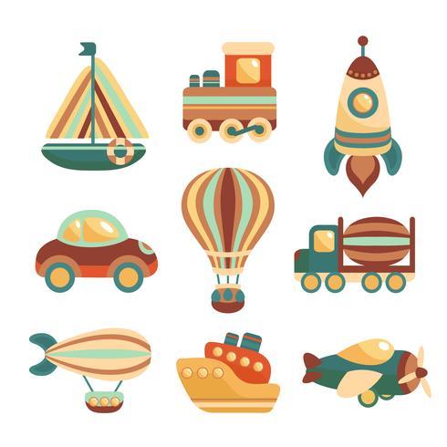 Conjunto de iconos de juguetes de transporte vector