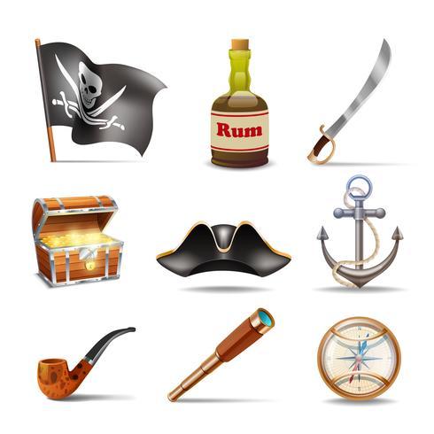 Conjunto de ícones de pirata colorido