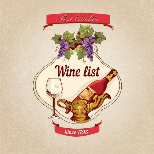 Wijnkaart retro poster