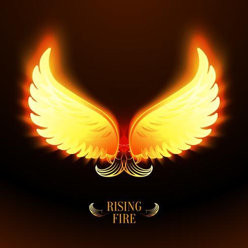Bright glowing fire angel wings