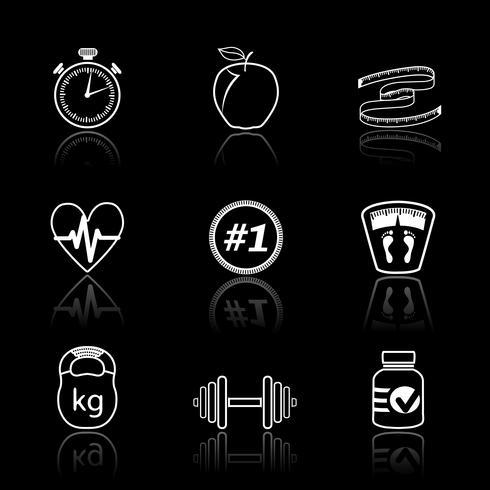Conjunto de iconos de deporte fitness vector