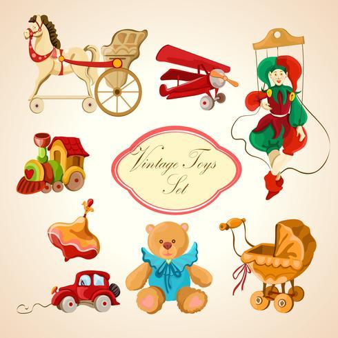 Conjunto de iconos dibujados de colores juguetes