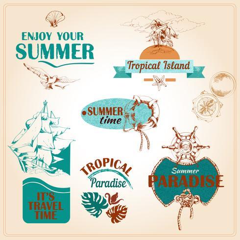 Summer vacation marine sea emblems set?