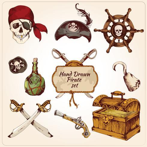 Conjunto de ícones coloridos de piratas vetor