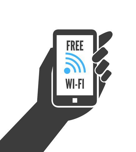 Mano que sostiene el teléfono inteligente con wifi gratuito