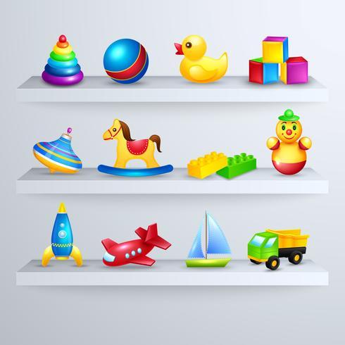 Toys icons shelf vector