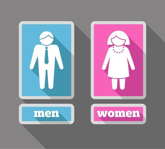 Frauen- und Männerikonen eingestellt gefärbt vektor