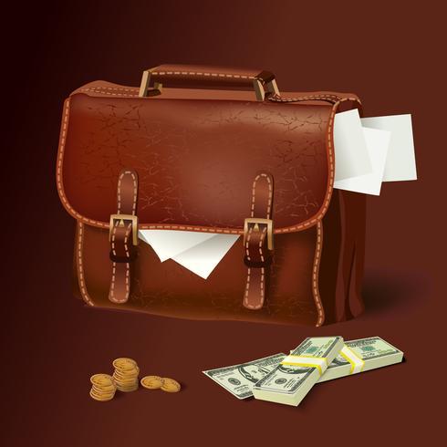 Läder portfölj med dokument och pengar