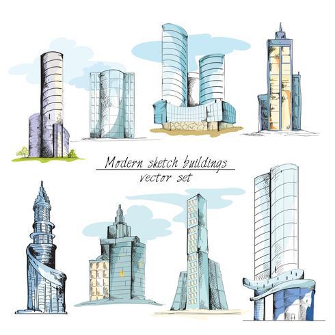 Bocetos modernos edificios de colores vector
