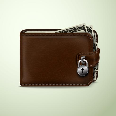 Wallet locked with padlock vector