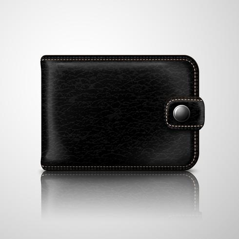 Classic black wallet leather textured vector