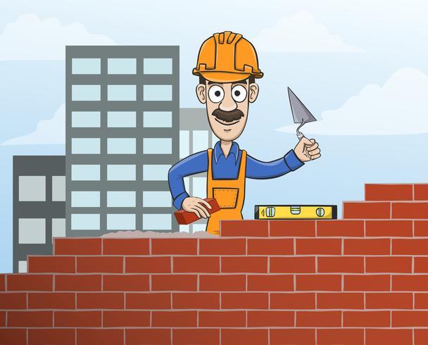 Metselaar die rode bakstenen muur bouwt vector