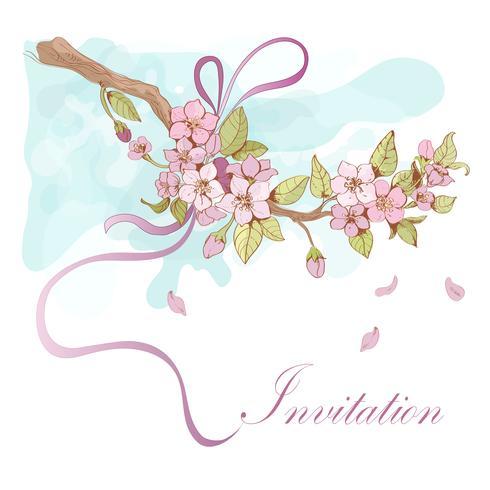 Invitación de la cereza de Sakura vector