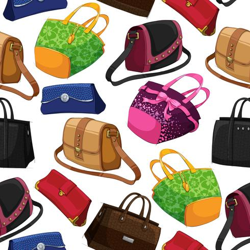 Seamless woman's fashion bags background vector