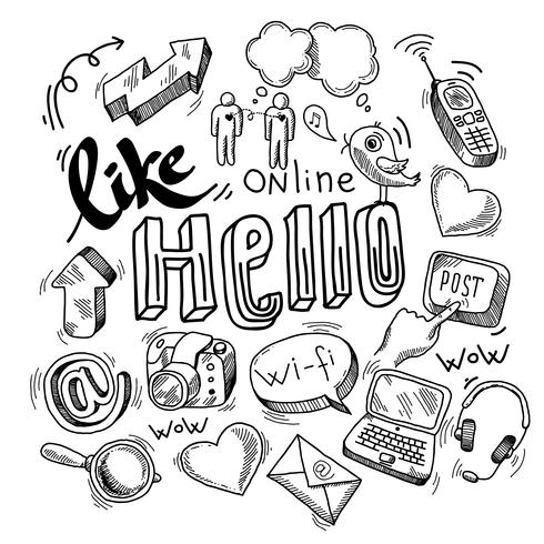 Doodle simboli social media vettore