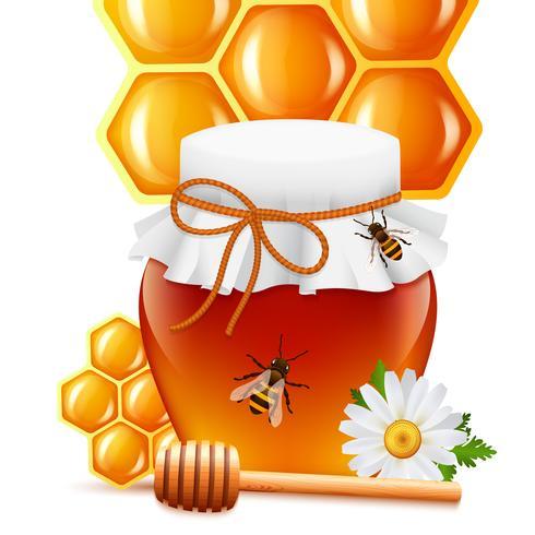 Honigglas mit Schöpflöffel und Kammaufdruck