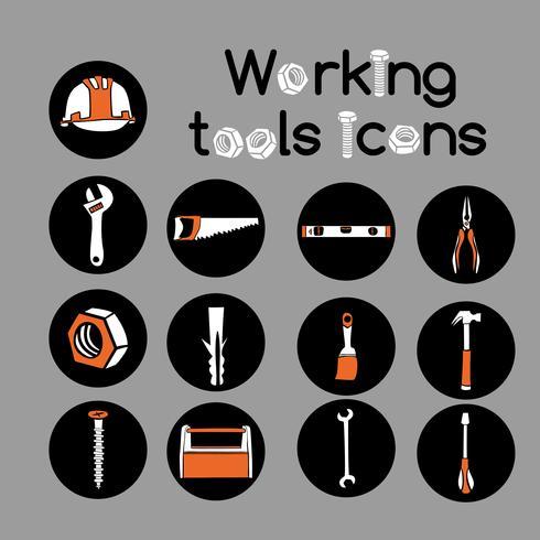 Snickare Arbetsverktyg Ikoner Set