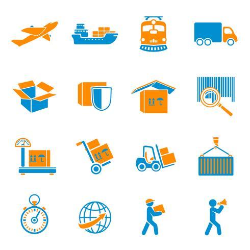 Set di icone di consegna di spedizione