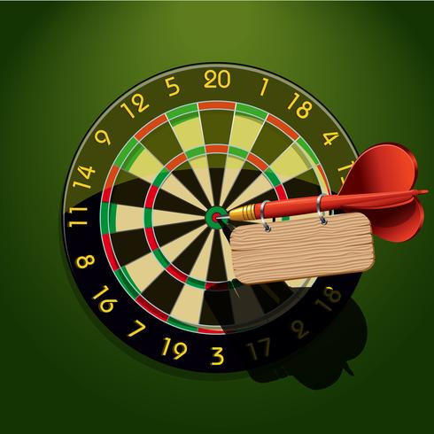 Dartboard with dart and blank table vector