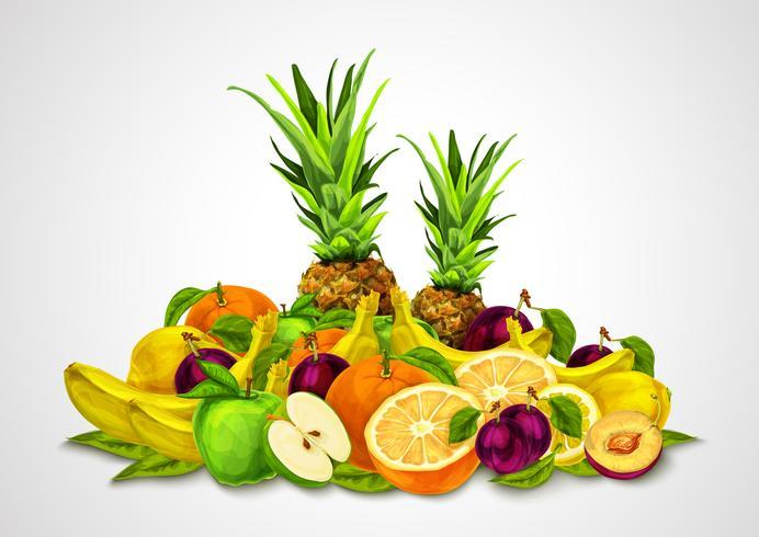 Frutas tropicales establecer la naturaleza muerta vector