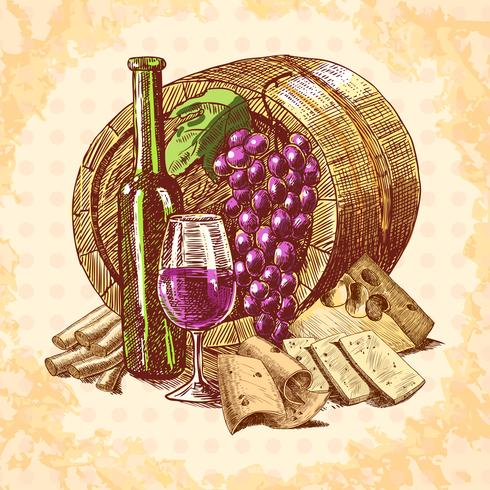Wine cheese emblem vector