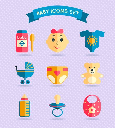 Baby child icons set vector