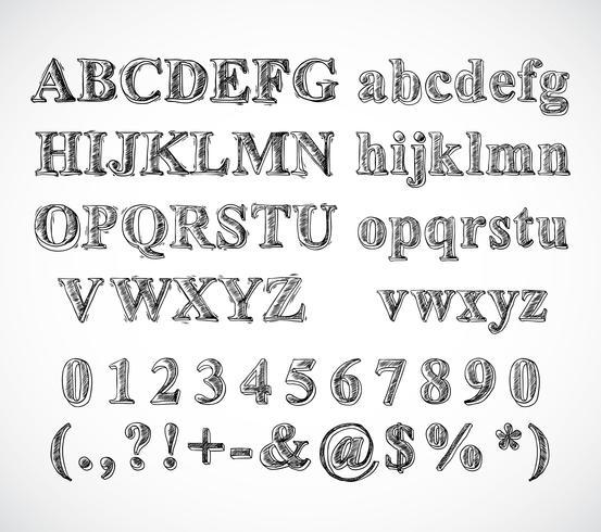 Skizzieren Sie die Schriftart des Alphabets