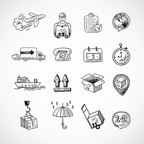 Set di icone disegnate a mano logistica vettore