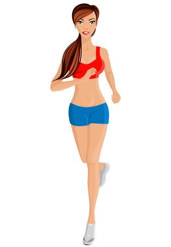 Woman running full length portrait