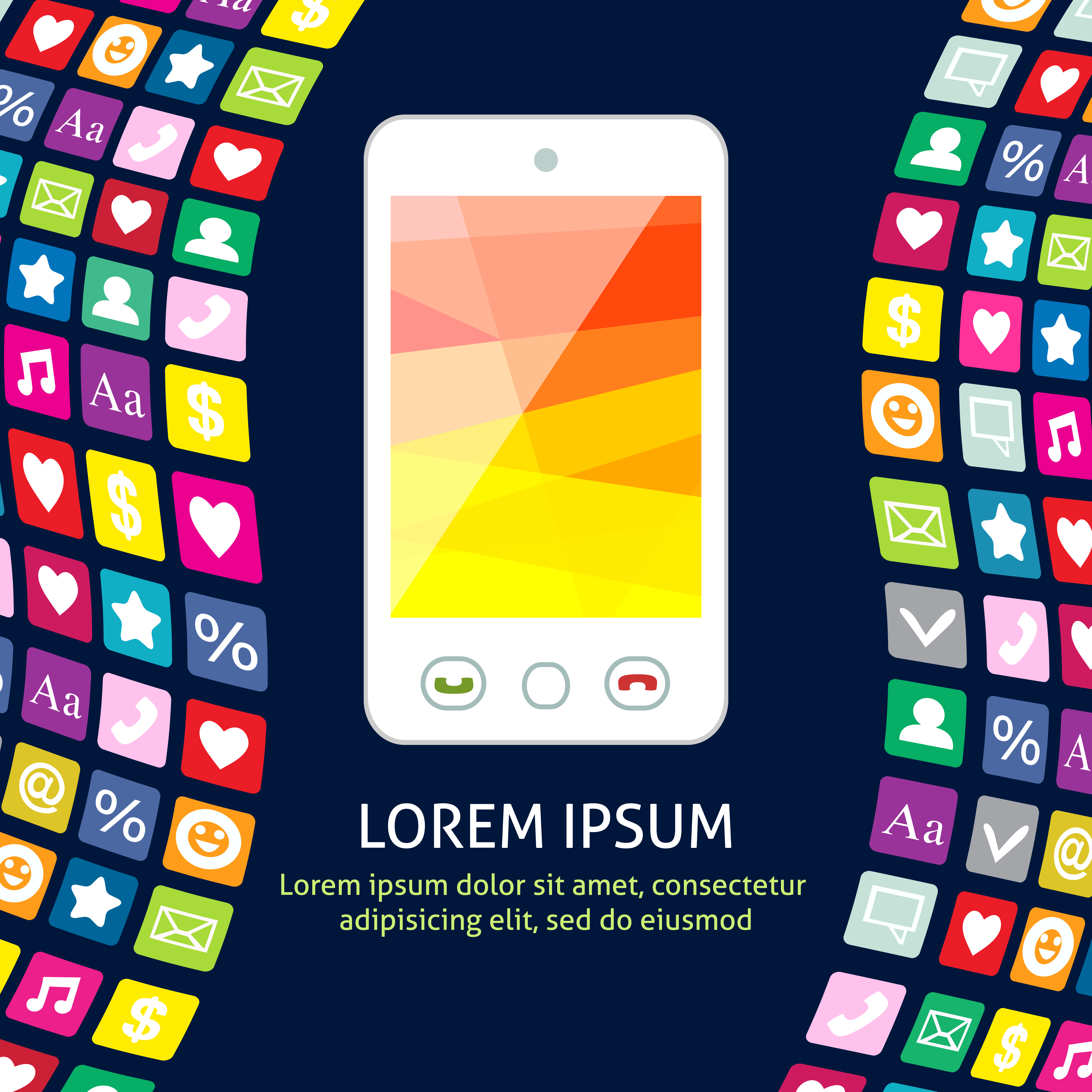 Smartphone with icons poster - Download Free Vectors ...