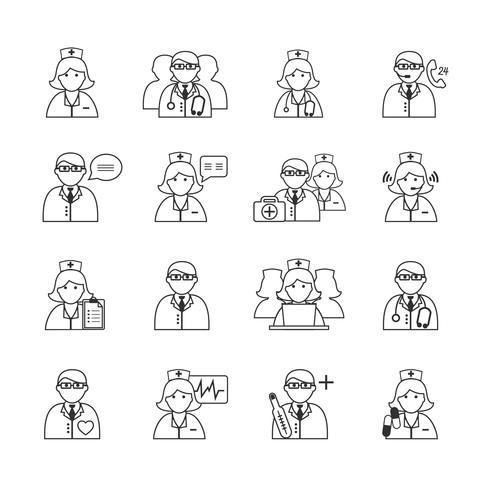 Médecin et infirmières Icons Set