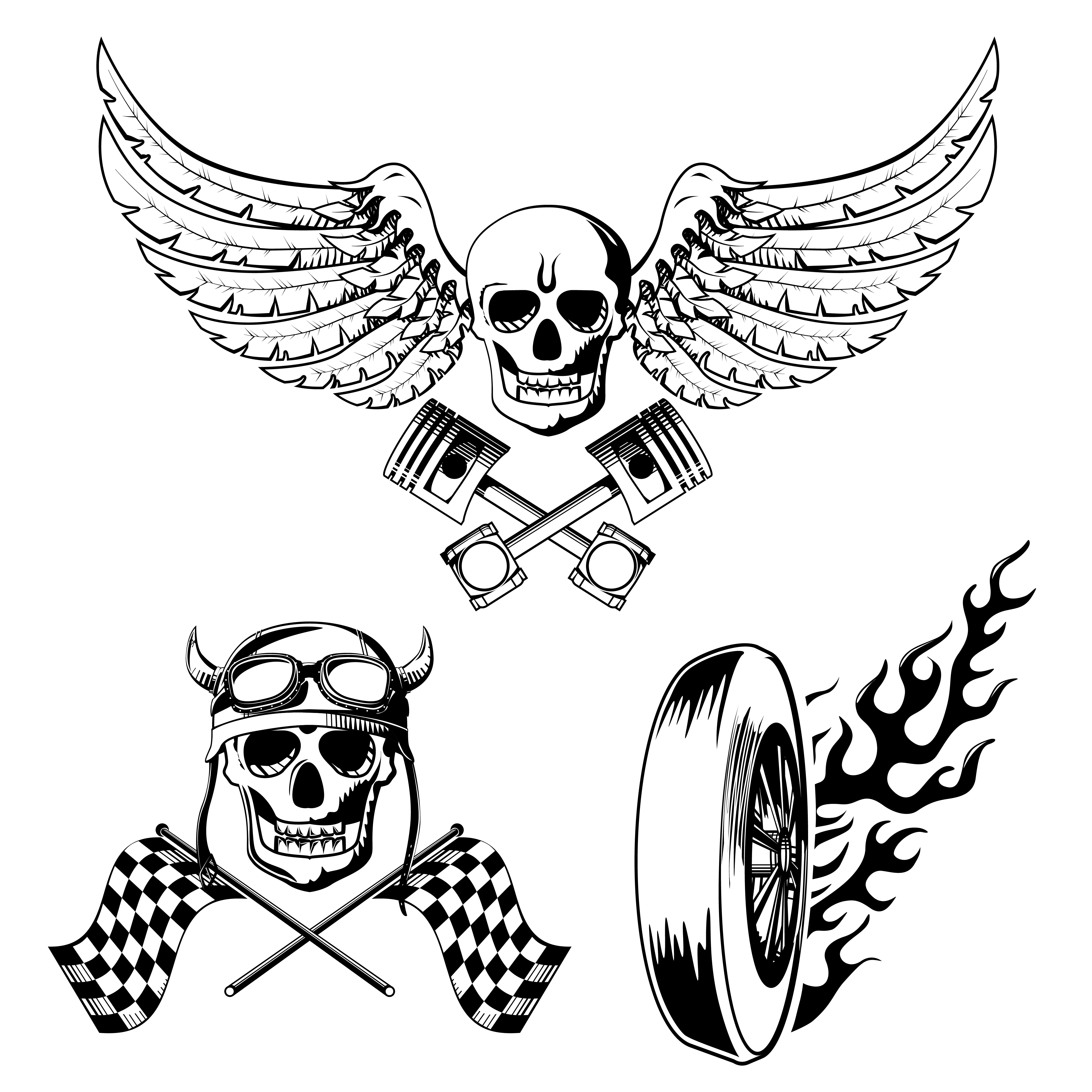 Motorcycle Bike Labels Set